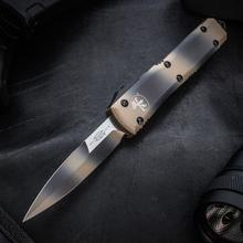 Microtech 120-1TC Ultratech AUTO OTF 3.46 inch Tan Camo Double Edge Bayonet Blade and Aluminum Handles