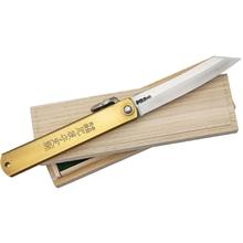 Nagao Higonokami Friction Folding Knife 3-3/4 inch Reverse Tanto Blade, Brass Handle