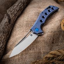 Olamic Cutlery Mid-Tech Swish Flipper 3.75 inch Satin Elmax Blade, Blue Stonewashed Hole Milled Titanium Handles