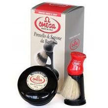 Omega Shaving Brush, Stand and Soap Shave Set