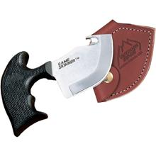 Outdoor Edge Game Skinner 3 inch Blade with Gut Hook, Black Kraton Handle, Leather Sheath