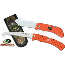Outdoor Edge Grip Hook Knife and Saw Combo 3.2 inch Blade, Orange Kraton Handles