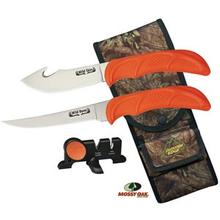 Outdoor Edge Wild-Bone Guthook Skinner/Boning Knife Combo Set, Mossy Oak Nylon Sheath and Sharpener