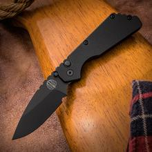 Pro-Tech Strider 2303 PT AUTO Folding Knife 2.75 inch 154CM Black DLC Plain Blade, Black Aluminum Handles