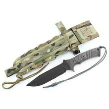 Chris Reeve Pacific Combat Knife Fixed 6 inch S35VN Black Combo Blade, Micarta Handles, Camo Nylon Sheath