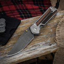 Chris Reeve Large Sebenza 21 Folding Knife 3.625 inch Thomas Ladder Damascus Blade, Titanium Handles with Macassar Ebony Inlays