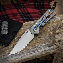 Chris Reeve Large Sebenza 21 Unique Graphic Folding Knife 3.625 inch S35VN Blade, CGG Titanium Handles with Tiger's Eye Cabochon  Inlay