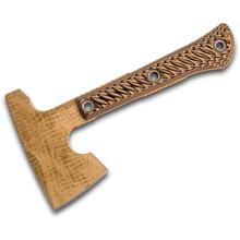 RMJ Tactical Mini Jenny Hammer Poll Tomahawk 9.4 inch Overall, Tan Burlap Finish, Hyena Brown G10 Handle, Kydex Sheath with MOC Straps