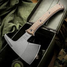 RMJ Tactical Pathfinder Tomahawk 11.75 inch Overall, Hyena Brown G10 Handle, Kydex Sheath with MOC Straps