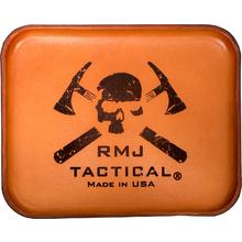 RMJ Tactical Leather Handcrafted Custom Valet Tray, Brown with Logo, 8.5 inch x 11 inch