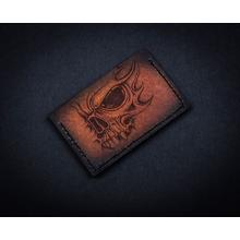Sergey Rogovets Custom Leather Card Wallet, Flaming Skull