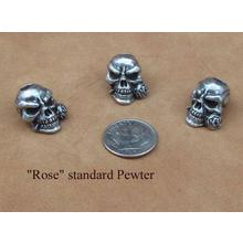 Schmuckatelli Pewter Rose Skull Bead
