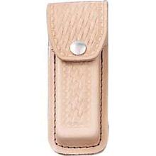 Basketweave Leather Sheath (Natural) Fits 4-1/2 inch to 5-1/4 inch Folders