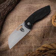 Sheepdog Knives Custom Convict Folding Knife 3.25 inch AEB-L Hand Rubbed Satin Blade, Smooth Black G10 Handles