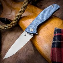 Shirogorov Hati Flipper 3.875 inch Vanax 37 Drop Point Blade, Milled Blue Twill and Blue Titanium Handles