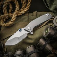 Skike Custom Knives Rogue Shark Flipper 4 inch CPM-20CV Compound Ground Blade with Milled Spine, Titanium Handles