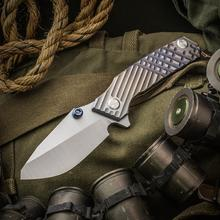 Skike Custom Knives Rogue Shark Flipper 4 inch CPM-20CV Hollow Ground Chisel Blade, Milled Titanium Handles