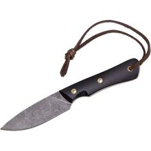 Smith & Sons Brave Fixed 3.5 inch D2 Darkened Stonewash Blade, Black Micarta Handles, Leather Sheath
