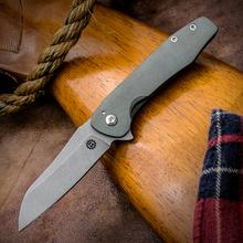 Smock Knives Custom SK45 Flipper 3.125 inch S30V Sheepsfoot Blade, Antique Green Contoured Titanium Handles