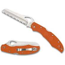 Spyderco Byrd BY17SOR2 Cara Cara 2 Rescue Folding Knife 3.93 inch Serrated Blade, Orange FRN Handles