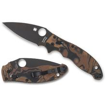 Spyderco Manix 2 Folding Knife 3.375 inch S90V Black Plain Blade, Black and Brown Burled G10 Handles, Sprint Run