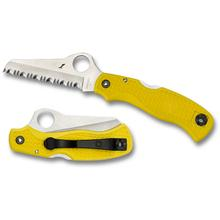 Spyderco C118SYL Saver Salt Folding Knife 3-3/32 inch H-1 Serrated Blade, Yellow FRN Handles