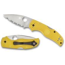 Spyderco Native 5 Salt Folding Knife 2.95 inch LC200N Satin Serrated Blade, Yellow FRN Handles