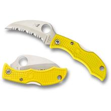 Spyderco Ladybug 3 Salt Hawkbill Folding Knife 1.94 inch H-1 Satin Serrated Blade, Yellow FRN Handles