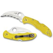 Spyderco C106SYL2 Tasman Salt 2 Folding Knife 2.8 inch H1 Serrated Hawkbill Blade, Yellow FRN Handles
