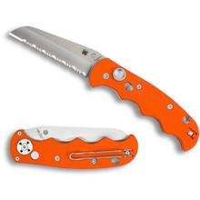 Spyderco C165GSOR Autonomy AUTO Folding Knife 3.65 inch H-1 Satin Serrated Blade, Orange G10 Handles