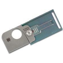Spyderco Customized C193TIP Squarehead Folder 1.3 inch S30V Stonewash Blade, Teal Anodized Titanium Handle