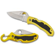 Spyderco C26PYL Snap-It Salt Folding Knife 2.96 inch H-1 Satin Plain Blade, Yellow FRN Handles