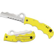 Spyderco Assist Salt Rescue Folder 3.68 inch H1 Combo Blade, Yellow FRN Handle, Whistle, Retractable Window Breaker