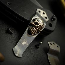 Steel Flame Royal Bronze Darkness Skull Pocket Clip for Emerson Knives