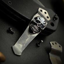 Steel Flame Sterling Silver Darkness Skull Pocket Clip for Emerson Knives