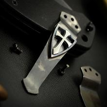Steel Flame Sterling Silver Crusader Cross Pocket Clip for Emerson Knives