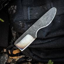 Stray Cat Knives Custom Cat Claw Neck Knife 1.25 inch 440C Natural Cleaver Blade, Kydex Sheath