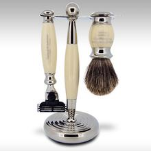 Taylor of Old Bond Street Pure Badger Mach3 Imitation Ivory Edwardian Shave Set in Gift Box