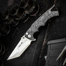 Brian Tighe Custom Fighter Flipper 3.75 inch S90V Core Compound Tanto Blade, Milled Carbon Fiber Handles
