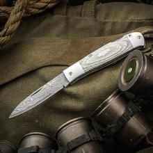 Tim Britton Knives Custom Pronghorn Traditional Lockback Folder 3.125 inch VG-10 Core Damascus Blade, Silver Twill Handles