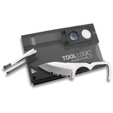 Tool Logic Survival Card I Charcoal Ultra Slim Card Tool with Compass & 8x Power Lens