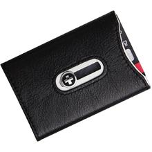 Wagner Super Slim Swiss Wallet with Money Clip, Black Leather with Silver Trim