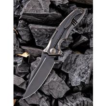 We Knife Company 814A Chimera Left Handed Flipper Knife 3.9 inch S35VN Black Blade, Dark Bronze Titanium Handles