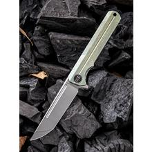 We Knife Company 909A Syncro Integral Flipper Knife 3.85 inch S35VN Stonewashed Blade, Green Titanium Handle