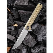 We Knife Company 909B Syncro Integral Flipper Knife 3.85 inch S35VN Stonewashed Blade, Gold Titanium Handle