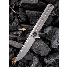 We Knife Company 909C Syncro Integral Flipper Knife 3.85 inch S35VN Stonewashed Blade, Gray Titanium Handle