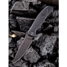 We Knife Company 910D 037 Flipper Knife 4.07 inch Bohler M390 Black Stonewashed Blade, Stonewashed Black Titanium Handles