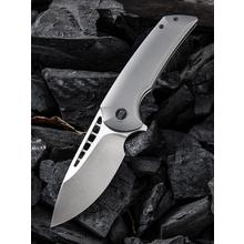 We Knife Company 911A Malice Flipper Knife 3.45 inch Bohler M390 Satin Blade, Gray Titanium Handles