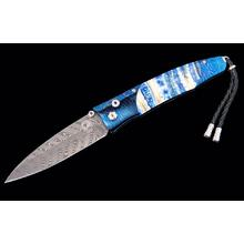 William Henry Gentac 'Blue Mist' Folding Knife 3.25 inch Boomerang Damascus Plain Blade, Rolling Rock Damascus Handles with Fossilized Mammoth Tooth Inlays