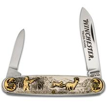 Winchester Model 94 Year 2000 Limited Edition Pen Knife 3.5 inch Closed, Relief Nickel Silver Handles with 24k Gold Highlights